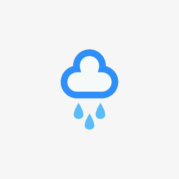 手绘蓝色雨天图标