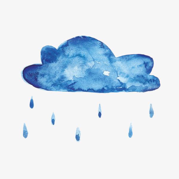 水彩手绘蓝色雨云