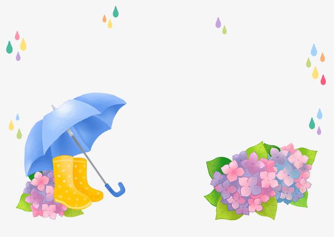 手绘彩色雨伞花卉