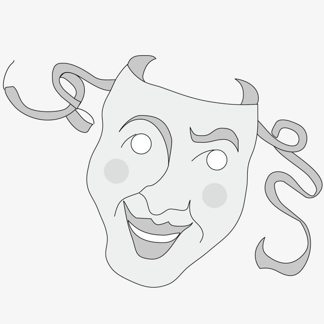灰色笑脸面具矢量