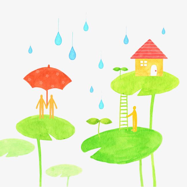 水彩手绘下雨天