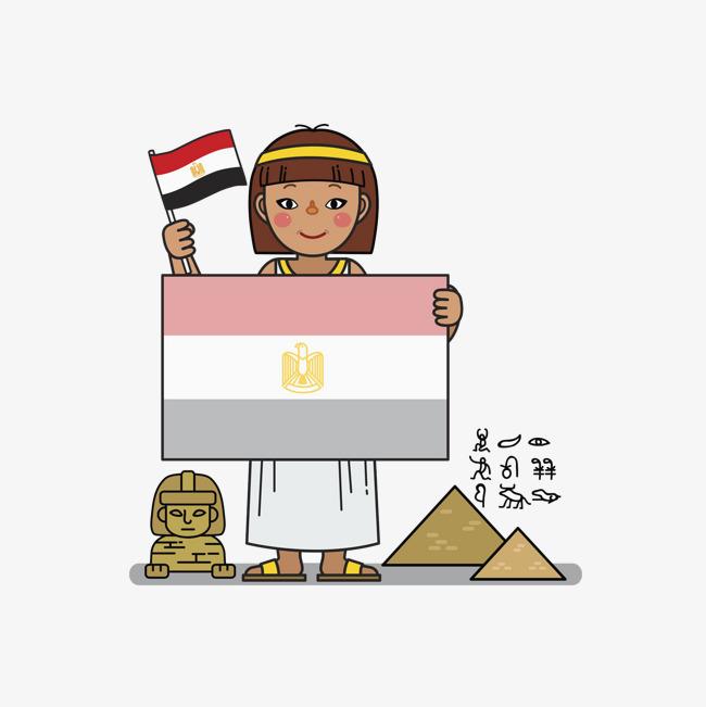 手绘国旗背景女孩