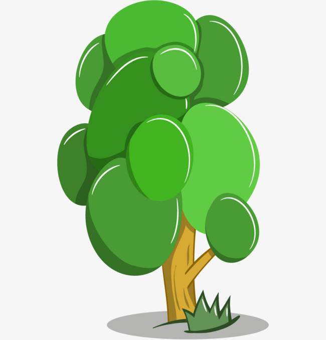绿色手绘的大树