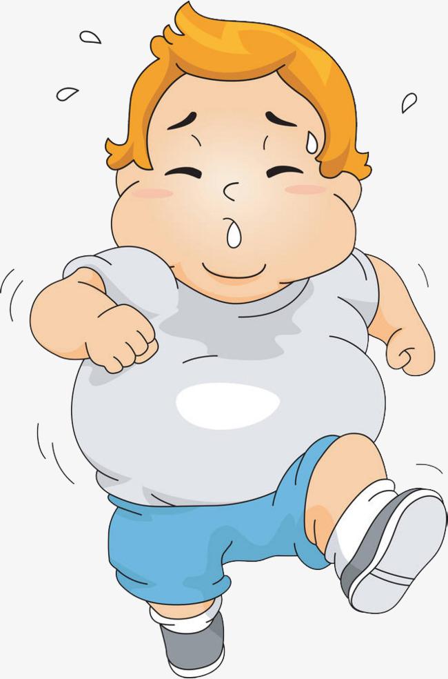 跑步运动的大肚腩小胖子