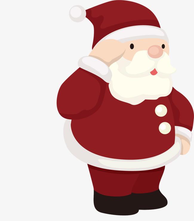 手绘圣诞老人敬礼图案