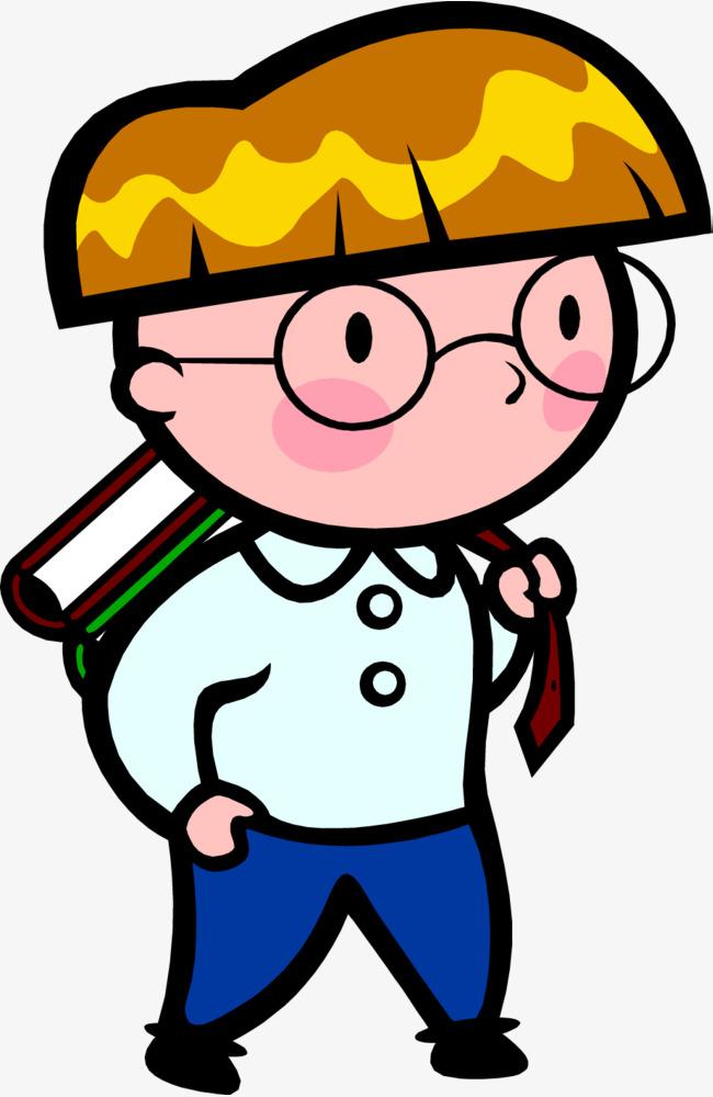 可爱戴眼镜背书包的小男孩