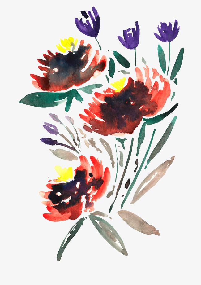 手绘水彩鲜花