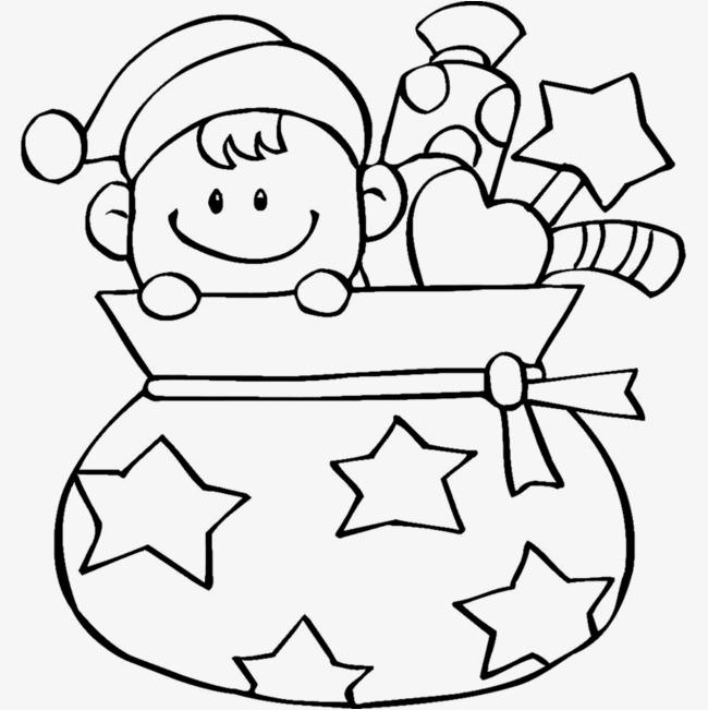 卡通手绘圣诞礼物袋