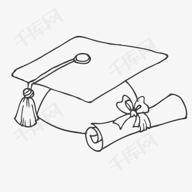 卡通手绘学士帽学士帽卡通手绘铅笔纹理铅笔画简笔画