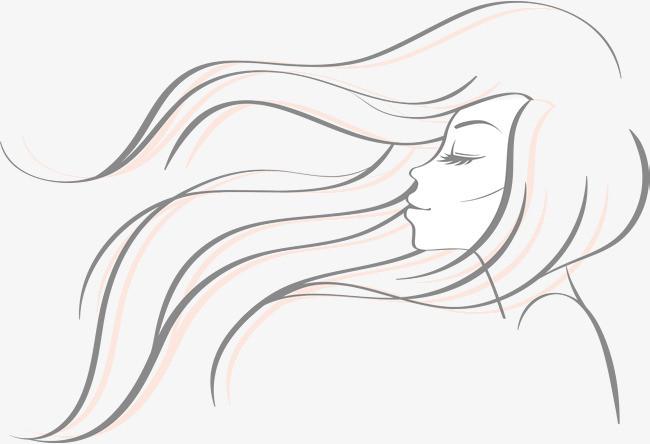 手绘美女侧颜动感头发曲线
