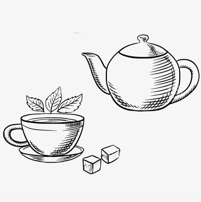 茶 简笔画 绘画 卡通手绘 茶壶 喝茶 煮茶 烹茶 茶简笔画免扣素材