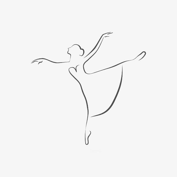 手绘黑色线条芭蕾舞者