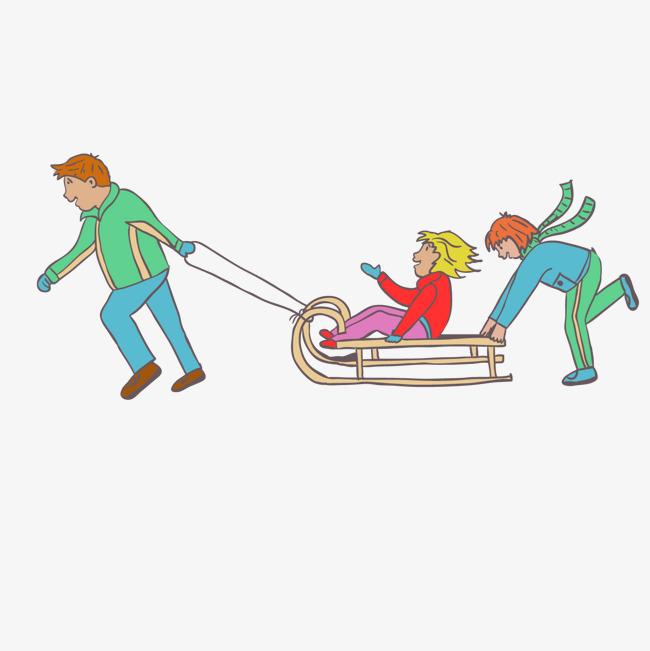手绘卡通雪橇娱乐