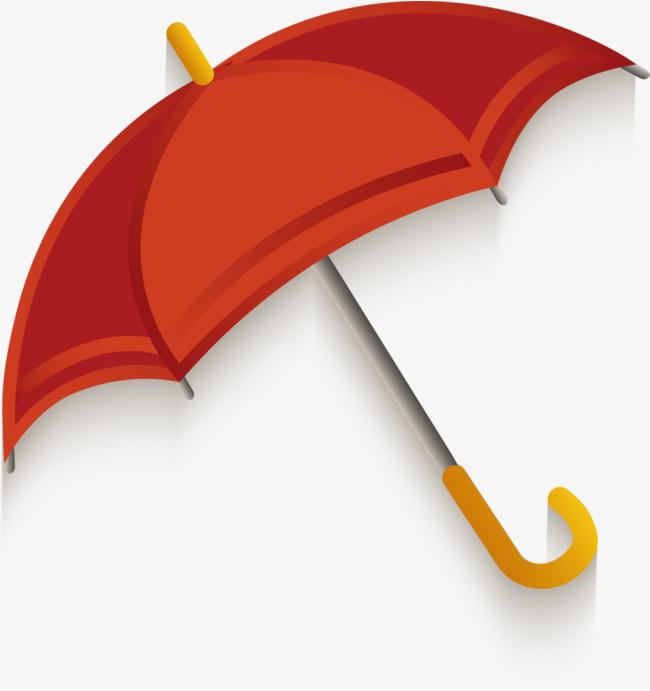 手绘红色雨伞