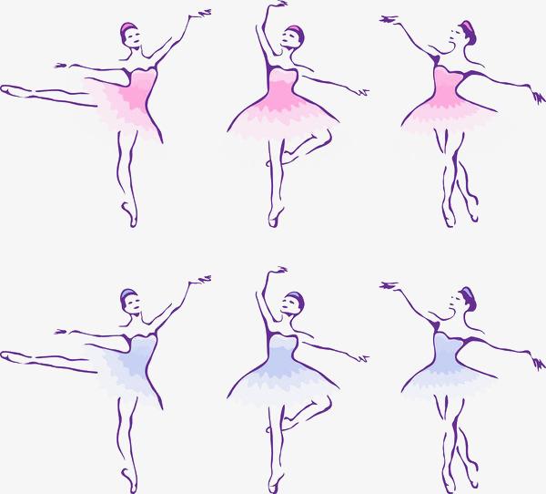 手绘彩色芭蕾舞者