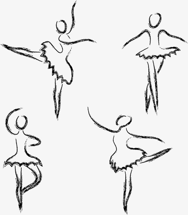 手绘黑色粉笔芭蕾舞者