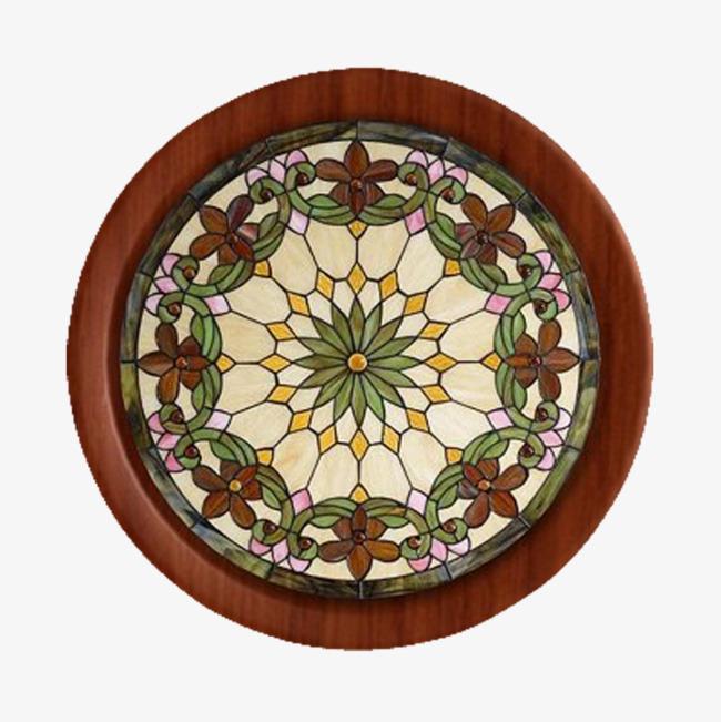 棕色花纹圆形窗户