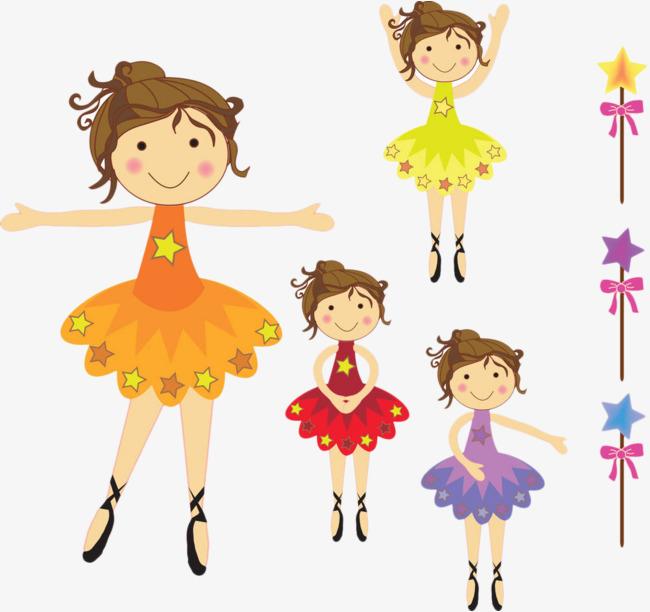 手绘卡通彩色芭蕾舞裙