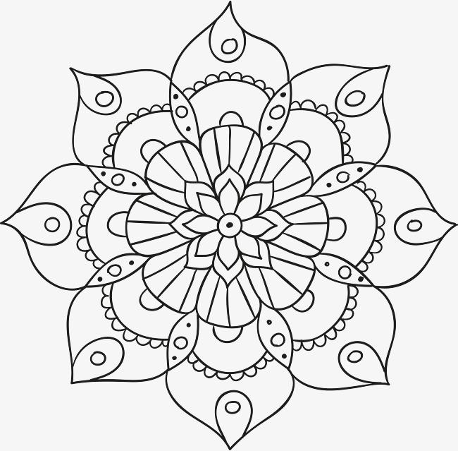 黑色手绘曼陀罗花纹