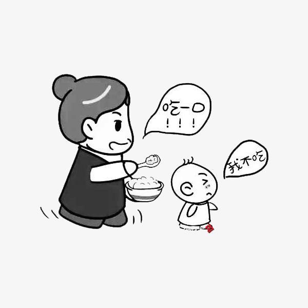 妈妈跑着喂孩子吃饭