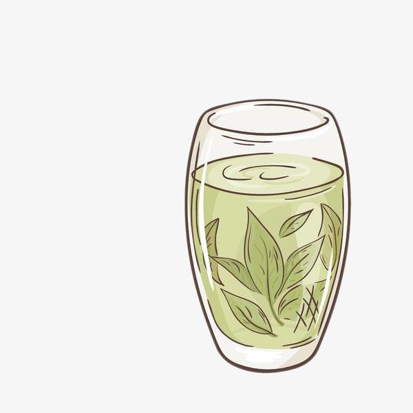 手绘绿茶茶叶