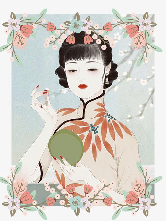 民国风手绘插图穿旗袍的美女梳妆