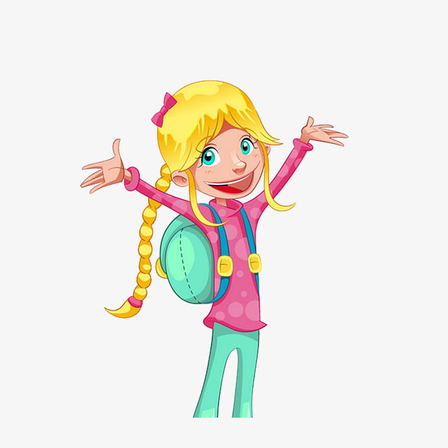 背书包的金发小女孩