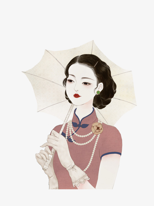 手绘人物穿旗袍撑着伞的美女