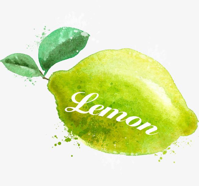 手绘绿色柠檬