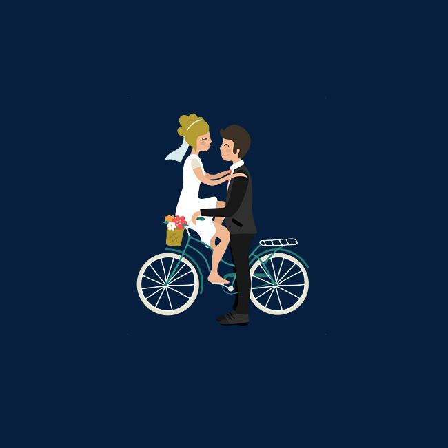 骑自行车拍婚纱照的情侣