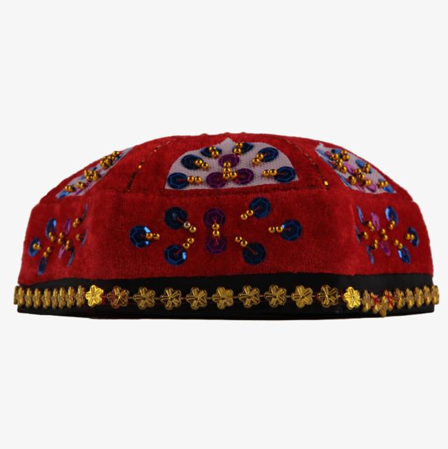 新疆 亮片 帽子 花帽 维吾尔族 少数民族 舞蹈 舞台 新疆帽子png免费