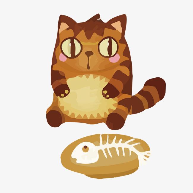 卡通小猫吃鱼