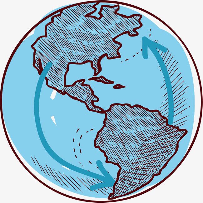矢量手绘ppt装饰地球仪素材图片