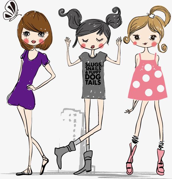 卡通人物插图可爱女孩们图片
