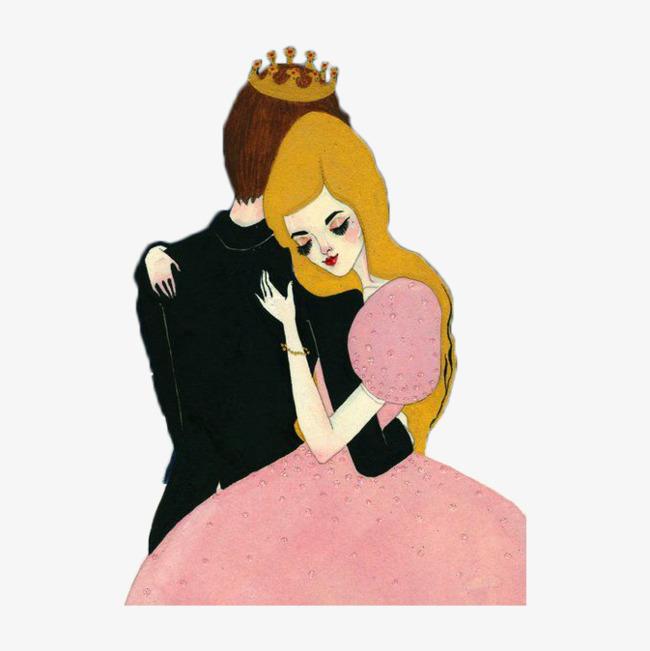 手绘王子和公主拥抱