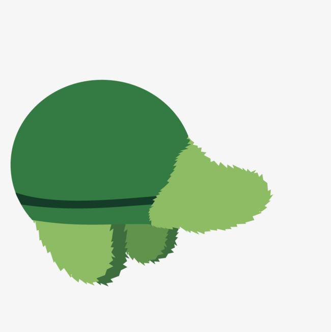手绘卡通绿色鸭舌帽
