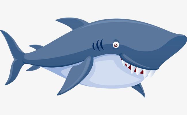 手绘卡通蓝色鲨鱼