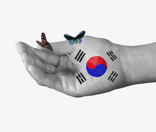 韩国国旗手绘蝴蝶