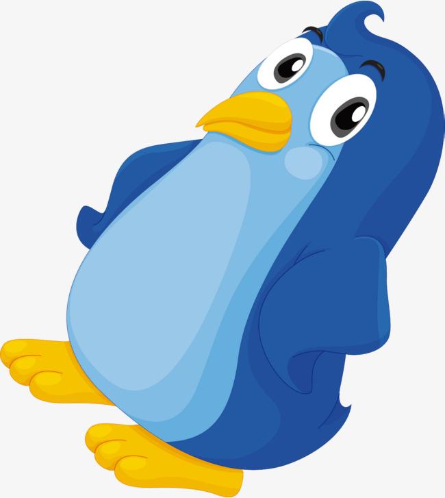 手绘蓝色可爱企鹅