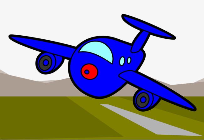 手绘卡通飞机跑道