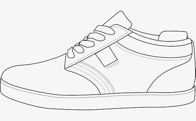 手绘板鞋图黑色鞋子鞋鞋子鞋子素描女鞋手绘鞋鞋矢量图黑色运动鞋-