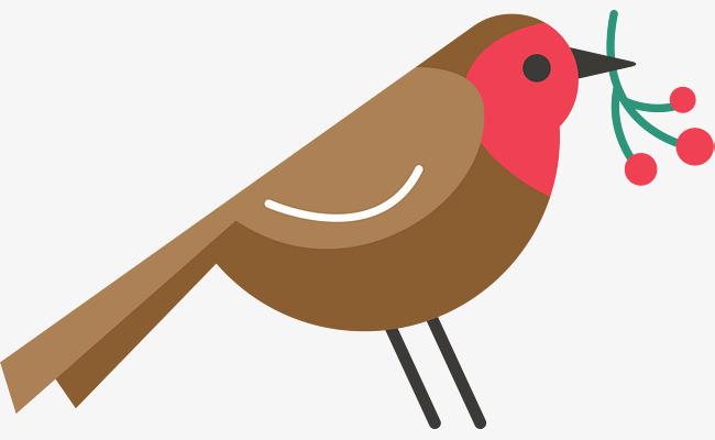 棕色扁平化小鸟图片