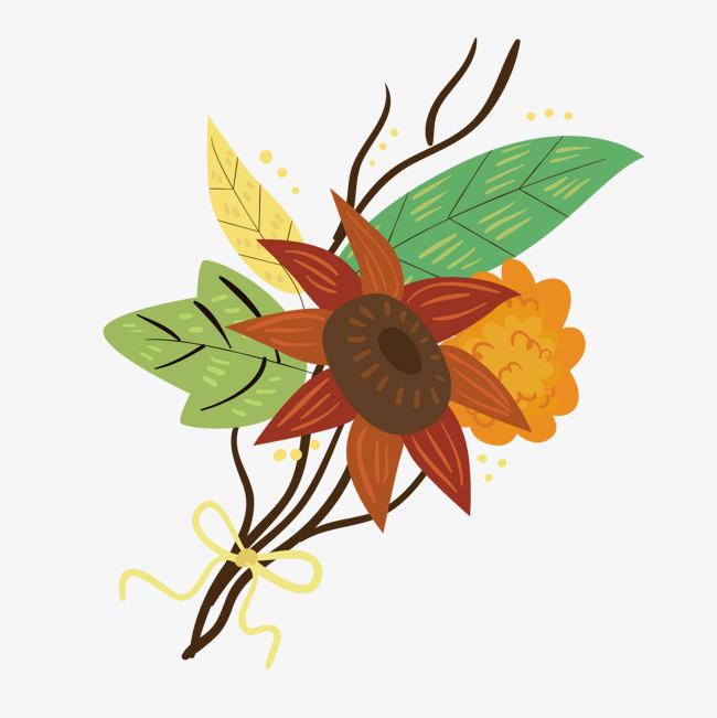 手绘一束鲜花一束花绿色叶子鲜花卡通植物矢量图背景装饰