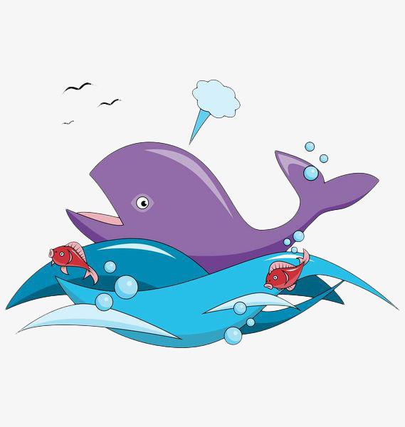 手绘海浪海洋鲸鱼
