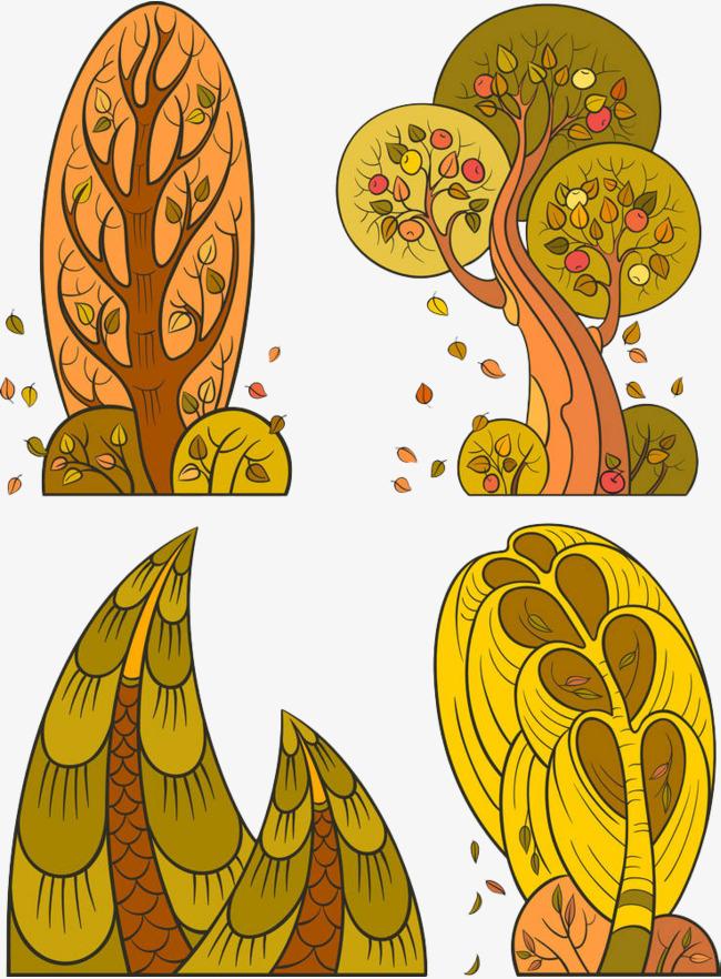 手绘黄色落叶树