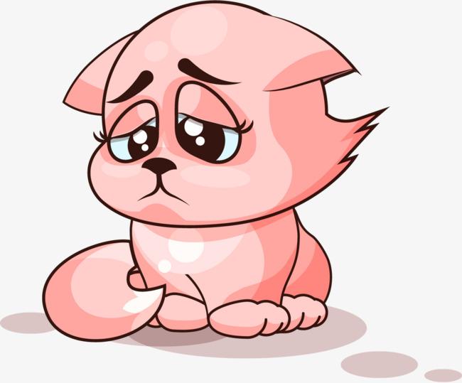 手绘卡通小猫伤心表情图片