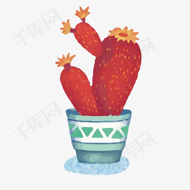 红色可爱仙人掌素材图片免费下载_高清卡通手绘psd_千