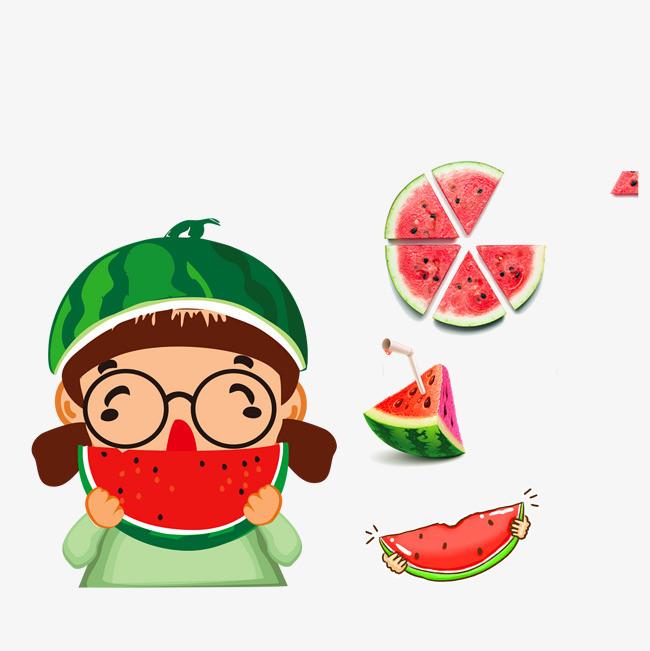 图片 产品实物 > 【png】 吃西瓜顾客卡通顾客  分类:产品实物 类目图片