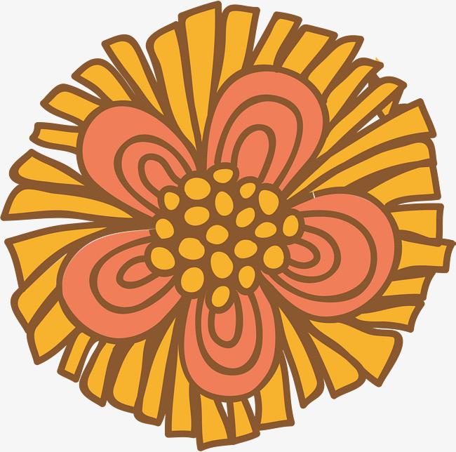 橙色手绘花朵