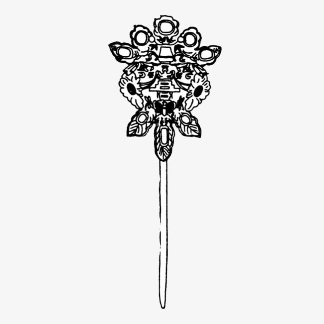 手绘 发簪 簪子 心形 古代 古典 古风 步摇 手绘发簪png免费下载